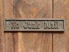 """NO JUNK MAIL"" Cast Bronze Resin, Post Box, Mail Box or Brick Wall Plaque Sign"
