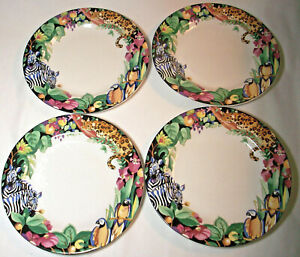 Sakura Vitromaster Sue Zipkin:RAIN FOREST:4 Salad Plates:Jungle Animals: GVC: NR