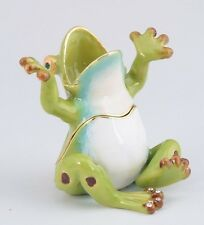 Frog Trinket box by Keren Kopal Austrian Crystal Jewelry box Faberge