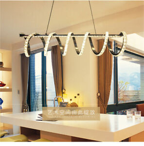 Remote Dimmable LED crystal modern pendant light creative dining room table lamp