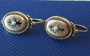 Biedermeier Ohrringe 585er Schaumgold Gold  Flussperlen Emaille