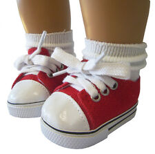 """Doll Clothes fits 18"""" American Girl Red Canvas Sneakers Gym Shoes Logan"""