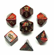 Chessex Polyhedral 7-Die Gemini Dice Set Black & Red W/ Gold Numbers CHX 26433