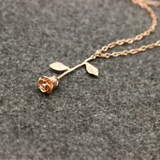 26 Letter Rose Flower Pendant Necklace Gold plated Choker Women gift Jewelry zty