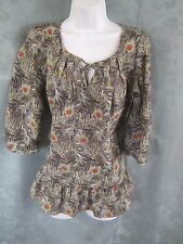 Liberty of London for Target Tunic Top Size Medium Peacock Feather Print Blouse