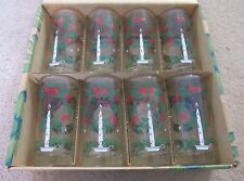 Vintage LIBBEY Christmas Candle Drink Glass Tumblers, Holly Wreath/Bows, Lot/Set