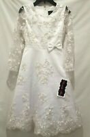 NWT White Girls Formal  Easter Dress Sz 10, 12 Communion Flower Girl Long Sleeve