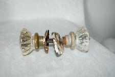 Antique Double Glass Crystal Door Knobs Handles Metal Hardware