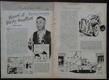 Rube Golberg Wacky Inventor Cartoonist 1946 article