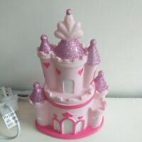 Glittery Pink Princess Castle Table Lamp Night Light Girls Bedroom Decor /Gift