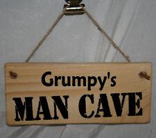 Grumpy's Man Cave Shed Door Sign Plaque Wood Hanging Garage Den Home Office 4 Corner Holes