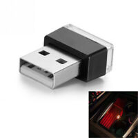 Pair Red Mini USB LED Car Interior Light Neon Atmosphere Ambient Lamps Universal