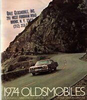 1974 OLDSMOBILE Brochure with Color Chart:TORONADO,98,88,CUTLASS SUPREME,S,OMEGA
