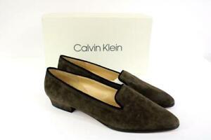 NEW CALVIN KLEIN Shadow Brown GERI Suede Pumps Vintage Heels Womens 10 M