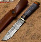 SFK Custom Handmade Damascus Steel Camel Bone Art Hunting Skinner Knife
