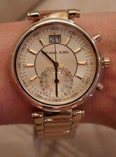 NEW W TAG Women's Michael Kors Sawyer Yellow Gold Steel Chronograph Watch MK6362