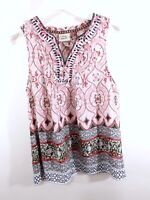 Knox Rose Womens V Neck Pink Floral Paisley Print Blouse Top Sleeveless Size XS