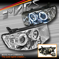 Crystal LED Angel Eyes Projector Head Lights for Mitsubishi Triton UTE 2006-1015