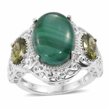 AFRICAN MALACHITE GREEN SIMULATED DIAMOND ACCENT PLATINUM ION BRASS RING SIZE 9