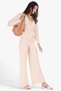 Staud Mitch Light Pink Nude Knit Pants Size XS Flared Cotton