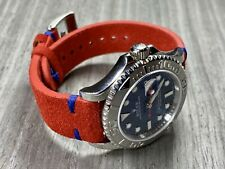 20mm Rolex GMT Pepsi Strap RED Suede BLUE stitch Leather watch band strap