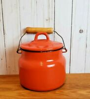 Vintage Enamel Pot Orange Enamelware Black Trim Farmhouse Rustic Decor Metal