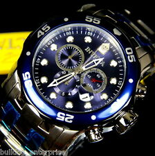 Mens Invicta Pro Diver Scuba Silver Steel Chronograph Swiss Parts Blue Watch New