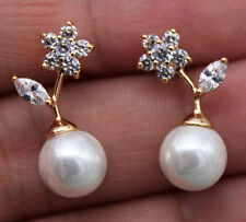 18K Yellow Gold Filled - Flower Leaf Pearl Topaz Zircon Wedding Stud Earrings