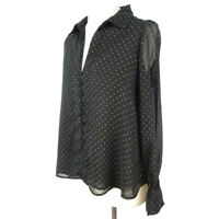 Zara Size S 10 12 Black Gold Spotty Polka Sheer Blouse Tie Cuff Party Top