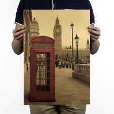 london red telephone booth kraft paper poster home decor retro wall sticker