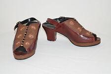Vintage 40's Leather & Suede Chunky Sling Back Peep Toe Platform Heels Shoes 6/7