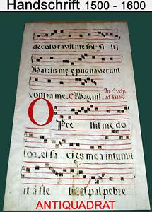 66,5 x 49 cm Blatt Antiphonar 16. Jh., Pergament Salomon Jesaja Handschrift rare