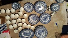 127 piece Staffordshire liberty blue china lot