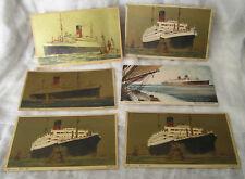 CUNARD LINE SET 13 CARDS HISTORICAL SHIPS LACONIA MAURETANIA AQUITANIA AURANIA