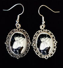 Bettie Page Antique Silver Drop Earrings Burlesque Fetish 1950s Pin Up