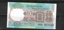 INDIA #80p 1989 5 RUPEES VF  CIRC OLD BANKNOTE PAPER MONEY CURRENCY BILL NOTE