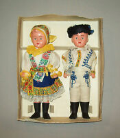 Old vtg ca 1950s pair of Celluloid Boy Girl Dolls made in Czechoslovakia in orig