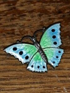 Silver Enamelled Butterfly Brooch