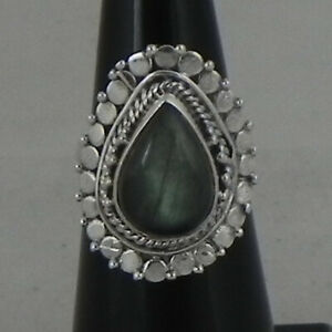925 Solid Sterling Silver Ring Natural Labradorite H to Y UK Ring Size RSV-1376