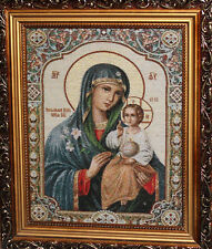 Hand made embroidery tapestry gobelin Virgin Mary Christ Child