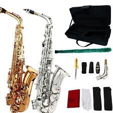 School Professional Brass Gold Alto Eb Sax Saxophone+Case +Mouthpieces T0H4