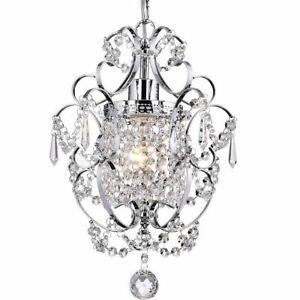 Retro Crystal Mini Chandelier Hanging Lamp Ceiling Light Fixture Living Bedrooms