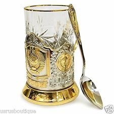 2 Russian  Drinking Cup Glass Metal Holder Coat of Gold Arms USSR Gift Set  tea