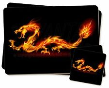 Stunning Fire Flame Dragon on Black Twin 2x Placemats+2x Coasters Set , DRAG-1PC