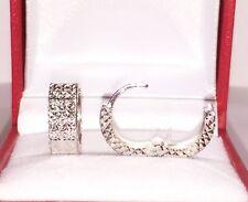 18k Solid White Gold Hoop Sparkle Earrings Diamond Cut Design 2.35 Grams