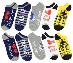 Doctor Who Dalek TARDIS No-Show Socks 5 Pair