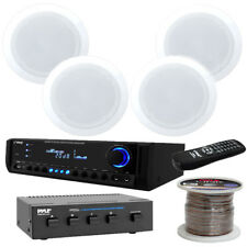 """Pyle PT390AU 300W Stereo Receiver, 4 Ch Selector, Wire, 8"""" 150W Cieling Speakers"""