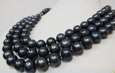 """HUGE 10-11MM TRIPLE STRANDS TAHITIAN GENUINE BLACK PEARL NECKLACE 17""""18""""19"""" AAA"""