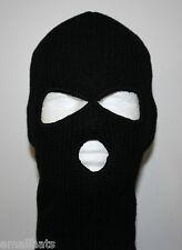 Black 3 Hole Face Mask Ski Mask Winter Cap Balaclava Hood Army Tactical Mask