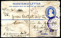 BRITISH INDIA TO SPAIN Registered Front Censored Cover NICE!